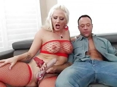 Dominant blonde bangs her slave