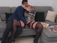 Cute madame loudly moans while man assfucks her
