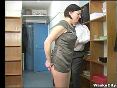 british Girl (thieving girl gets smacked by boss)