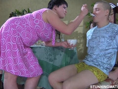 Chubby aunt fucks cocky youngster