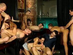 Gays and girls orgy in strip club 2