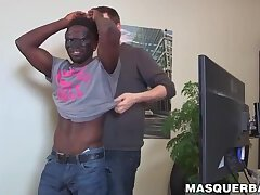 Black hunk gets handjob and blowjob from handsome whiteboy