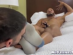 Ebony with beard strokes it hard as his feet are licked