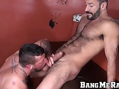Hairy daddy pounds his man bare after erotic cock sucking