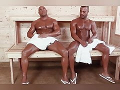 Big, muscular black men having sex in the sauna