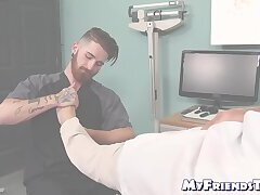 Doctor masturbates while bearded patient licks his feet