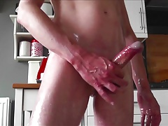 Oiled up soft to Rock Hard edging and Huge Intense Cum
