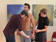 Muscle slave handjob with cumshot