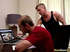 Step brother gets caught masturbating to gay porn