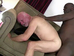Chubby elderly hairy man inhaling black cock & getting fucked