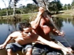 Hot outdoors gay bareback action with Latino boys