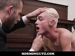 Blonde Mormon Twink Boy Fucked By Fucked By Church President In His Office