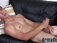 Army hunk Johnny Miles wanks his hairy long sword solo