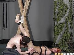Sexy young twink sucked off and fucked by his harsh master