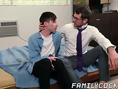 Stepdad with glasses makes his stepson bend over for him