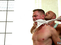 gagged slave doggystyled by muscled male domination