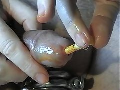 Demo of my urethra task with chili pepper oil