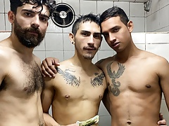 Young Latino Boy Threesome With Guys In Gym Shower For Cash