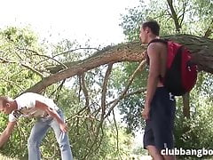 Incredibly HOT outdoor bareback fuck between two young guys