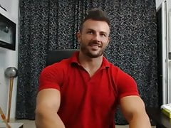 Handsome Muscle Guy Cam Show - flex, jerk, cum