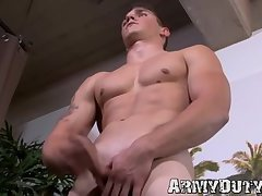 Military hunk wanking and stroking his dick