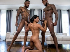 Bareback interracial anal with Aaron Reese, Armond Rizzo, and Cali