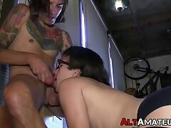 Inked goth stud gets his cock sucked on by a sub twink cutie