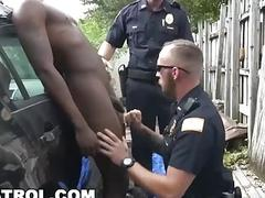 Cops bust a black guy but let him go after a hardcore gay fuck