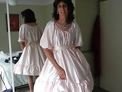 Crossdresser Jerking Off In Pink Dress 2
