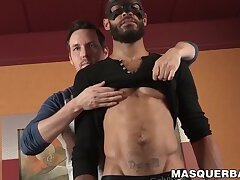 Black masked amateur sucked for cum by mature gay deviant