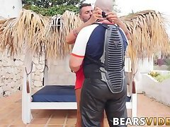 Beefy daddy biker exchange blowjobs with tattooed mature gay