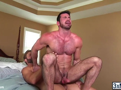 Big guy Billy Santoro bounces her ass into Colby Jansen hard cock