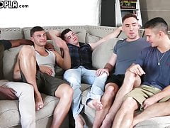 Hottest Young Guys! Gay 5-Some ORGY! Young STUDS FUCK