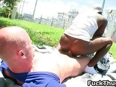 White man gets dick sucked by black homo thug
