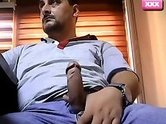 Beefy Turkish daddy jerking off