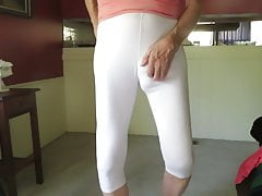 My fem ass and sissy bulge in skin-tight white spandex.