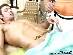 Straight guy gets rub down during massage