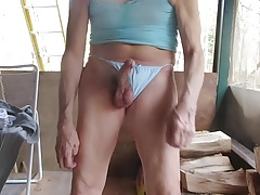 Sissy twink takes his panties off to masturbate on himself.
