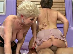 Two mature ladies share young guy's cock and cum