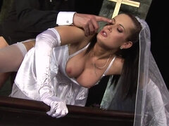 Runaway bride in sexy white nylons enjoys big dick in her pussy