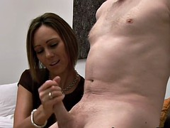 cfnm european amateur wanks cock on the couch