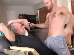 Redneck granddad penetrates a toned youthfull stud