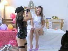 Bride Blue Angel getting her lesbian fantasies fulfilled during bachelorette party