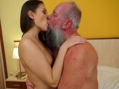 Brunette hottie with perky tits gets banged by old man