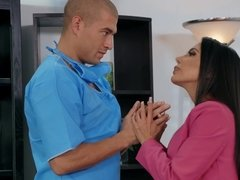 Hospital supervisor Lela Star calms patient's nerves by sucking on his big cock and fucking him in his office