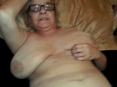 A granny named Lyn - very old filthy grandma gets cum on face