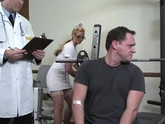 Nurse in white stockings takes doctor's cum in ass