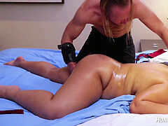 Chubby pierced fan gets bdsm massage.. splatters! aggressively choked!
