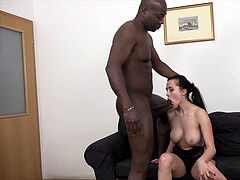 Babe with big knockers in first time interracial buttpound fuck
