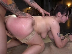 Petite Pain Slut Violet Monroe in Rope Bondage and Brutal Anal Fucking
